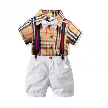 Lovely Casual Grid Print Apricot Boy Two-piece Shorts Set