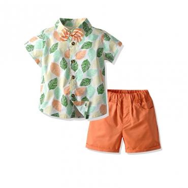 Lovely Bohemian Plants Print Orange Boy Two-piece Shorts Set