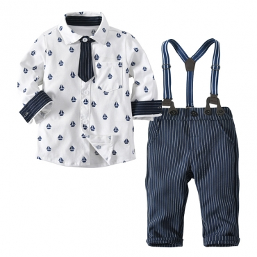 Lovely Trendy Print White Boy Two-piece Pants Set