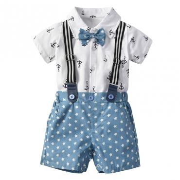 Lovely Trendy Print Blue Boy Two-piece Shorts Set