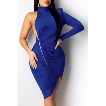 Lovely Trendy One Shoulder Zipper Design Blue Knee Length Dress
