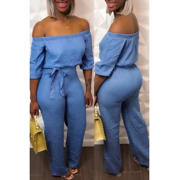Lovely Leisure Dew Shoulder Baby Blue One-piece Jumpsuit
