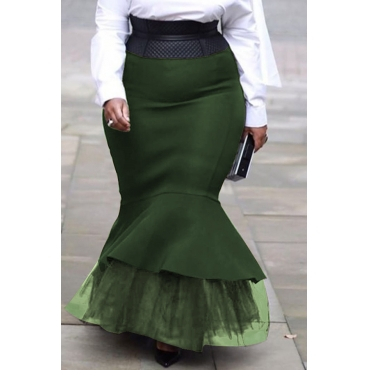 Lovely Casual Flounce Design Army Green Plus Size Skirt