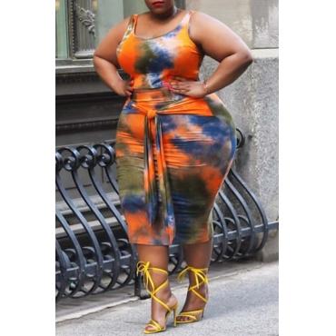 Lovely Trendy Tie-dye Jacinth Plus Size Two-piece Skirt Set