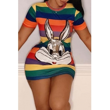 Lovely Sweet Character Printed Sheath Multicolor Mini Dress