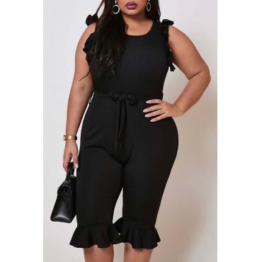 Lovely Sweet Flounce Design Black Plus Size One-piece Romper