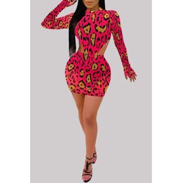 Lovely Sexy Print Red Two-piece Skirt Set