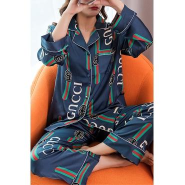 Lovely Trendy Print Blue Sleepwear