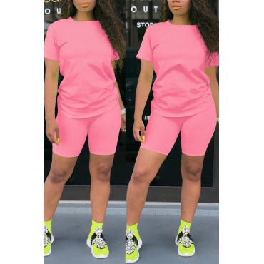 Lovely Leisure Basic Pink Two-piece Shorts Set