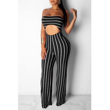 Lovely Leisure Striped Hollow-out Black One-piece Jumpsuit