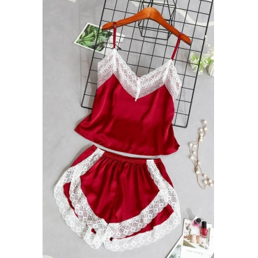 Lovely Sexy Lace Patchwork Wine Red Sleepwear