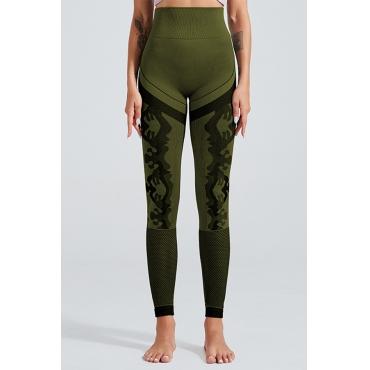 Lovely Sportswear Patchwork Army Green Leggings