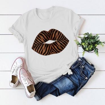 Lovely Casual O Neck Lip Print White T-shirt