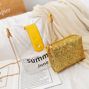Lovely Chic Chain Strap Yellow Crossbody Bag