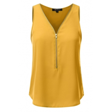 Lovely Casual Zipper Design Yellow Camisole