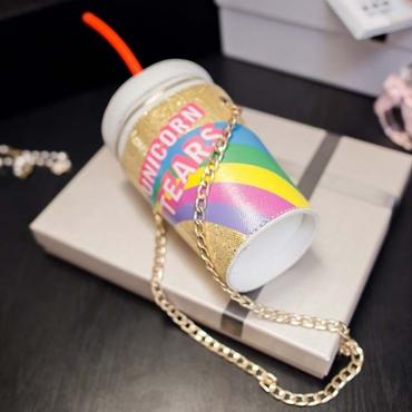 Lovely Sweet Chain Strap Gold Crossbody Bag