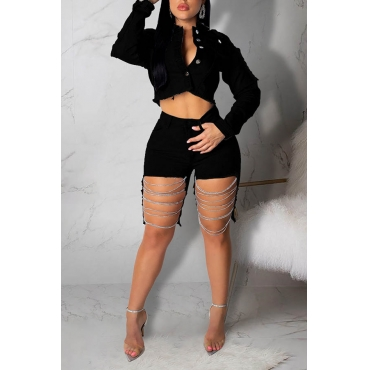 Lovely Trendy Hollow-out Black Shorts