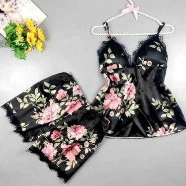 Lovely Trendy Print Black Sleepwear