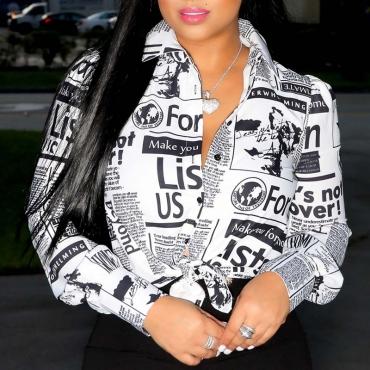 Lovely Trendy Print White Shirt