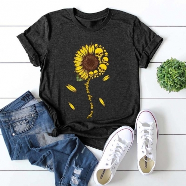 Lovely Casual Print Black T-shirt