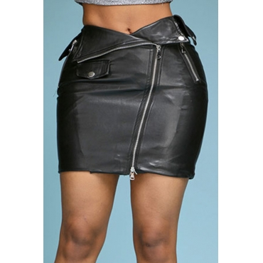 Lovely Trendy Zipper Design Black Skirt