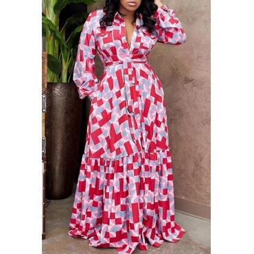 Lovely Trendy Print Red Maxi Dress