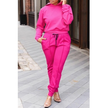 Lovely Casual Hooded Collar Rose Red Two-piece Pants Set