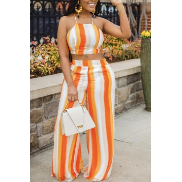 Lovely Casual Striped Orange Two-piece Pants Set