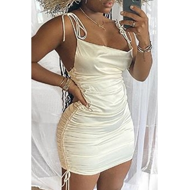 Lovely Stylish Fold Design White Mini Dress