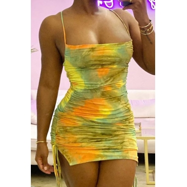 Lovely Stylish Tie-dye Yellow Mini Dress
