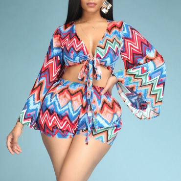 Lovely Bohemian Print Muticolor Two-piece Shorts Set