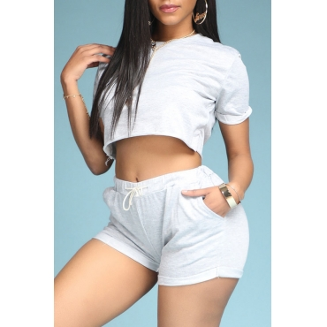 Lovely Leisure Lace-up Grey Two-piece Shorts Set