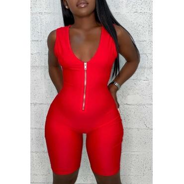 Lovely Sportswear Zipper Design Red One-piece Romper
