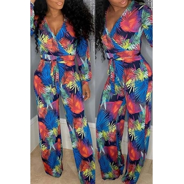 Lovely Bohemian Print Blue One-piece Jumpsuit