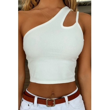 Lovely Leisure One Shoulder Hollow-out White Camisole