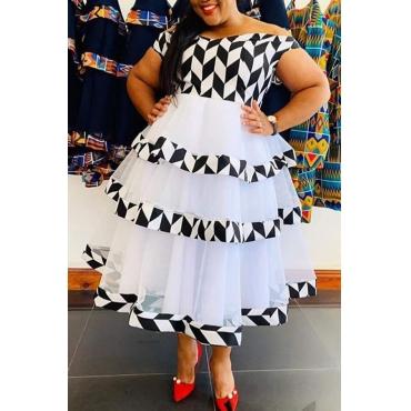 Lovely Stylish Patchwork Black Mid Calf Plus Size Dress