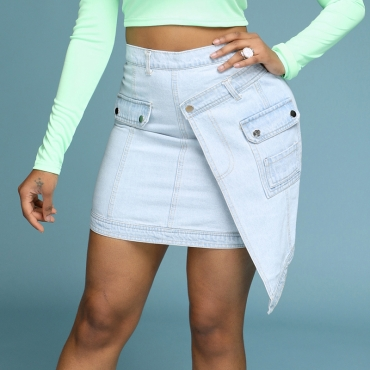 Lovely Stylish Asymmetrical Blue Skirt