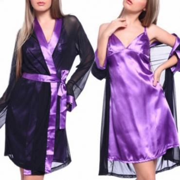 Lovely Sexy Patchwork Purple Babydolls