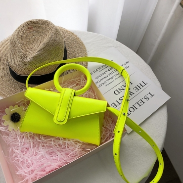 Lovely Trendy Hollow-out Yellow Messenger Bag