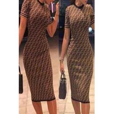 Lovely Stylish Print Coffee Knee Length T-shirt Dress