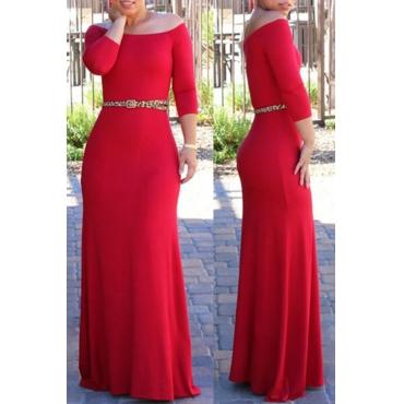 Lovely Bohemian Dew Shoulder Red Maxi Dress