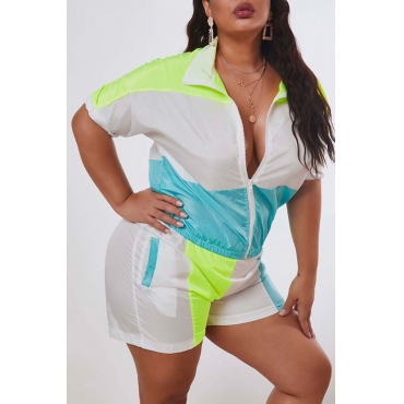 Lovely Leisure Patchwork Blue Plus Size Two-piece Shorts Set
