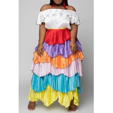 Lovely Trendy Layered Cascading Ruffle Multicolor Ankle Length Dress