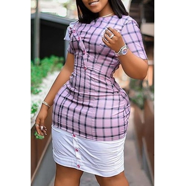 Lovely Trendy Grid Patchwork Pink Knee Length Plus Size Dress