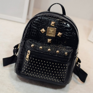 Lovely Stylish Rivet Decorative Black Backpack