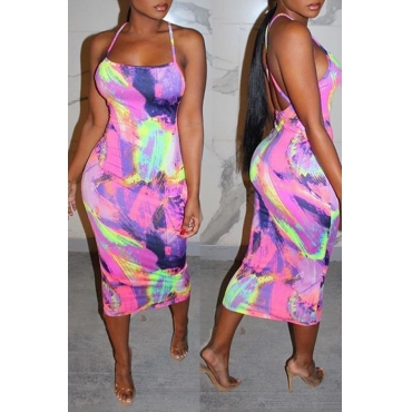 Lovely Casual Tie-dye Multicolor Mid Calf Dress