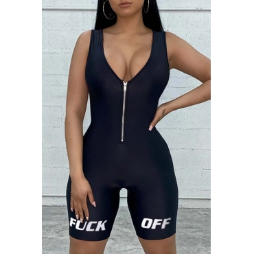 Lovely Trendy Zipper Design Black One-piece Romper