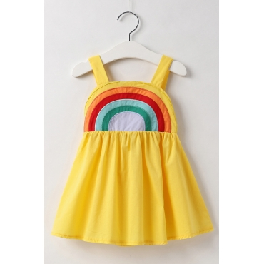 Lovely Sweet Rainbow Striped Yellow Girl Knee Length Dress