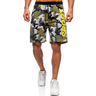 Lovely Sportswear Print Yellow Shorts
