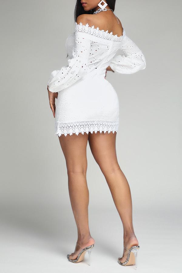 Lovely Sweet Patchwork White Mini Dress